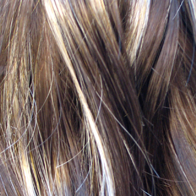 long blonde hair with dark brown. rown or dark blonde hair,